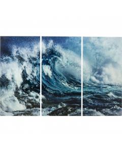 Kare Wandfoto Glass Triptychon Wave 160x240cm