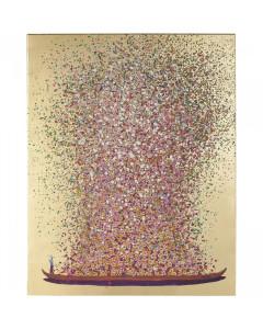 Kare Schilderij Touched Flower Boat Gold Pink 160x120cm