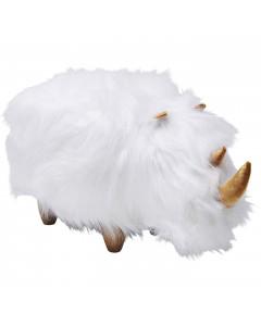 Kare Poef Rhino Fur White