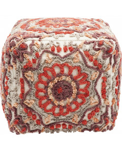 Kare Poef Arabian Flower Reddish