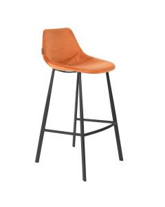 Dutchbone Barkruk Franky Tall Velvet Orange