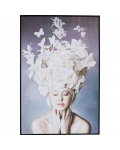 Kare Wandfoto Art Lady White Flowers 120x80cm