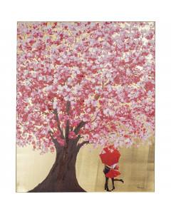 Kare Schilderij Flower Couple Gold Pink 100x80cm
