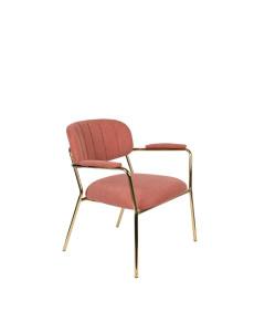 Meer Design Loungestoel Jolien Arm Gold/Pink