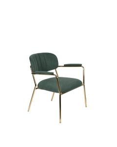 Meer Design Loungestoel Jolien Arm Gold/Dark Green