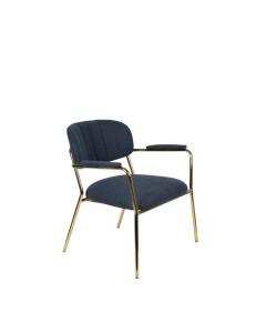 Meer Design Loungestoel Jolien Arm Gold/Dark Blue