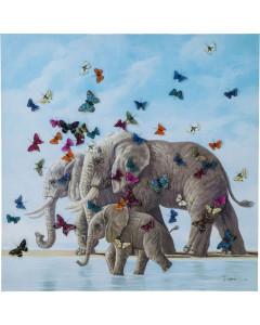 Kare Schilderij Touched Elephants with Butterflies 120x120 cm