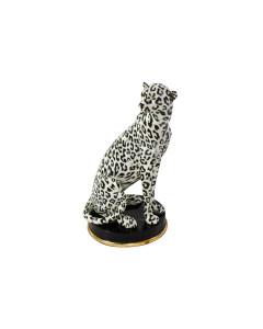 Decofiguur Sitting Leopard Creme Black 32cm