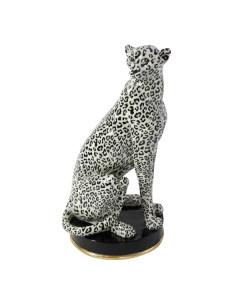 Decofiguur Sitting Leopard Creme Black 54cm