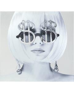 Kare Wandfoto Glass Metallic Dollar Girl 120x120 cm