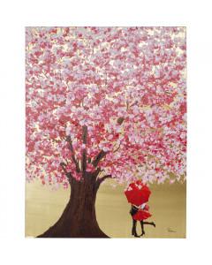 Kare Schilderij Flower Couple Gold Pink 160x120cm