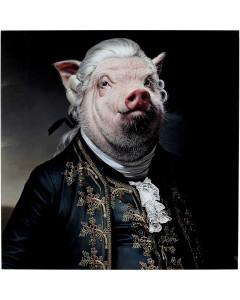 Kare Wandfoto Gentleman Pig 120x120cm