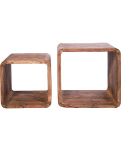 Kare Authentico Bijzettafel Cube Square (set van 2)