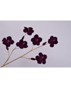 Silk-ka Kunstbloem Hibiscus Tak Goud Paars 115cm