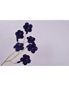 Silk-ka Kunstbloem Hibiscus Tak Goud Blauw 115cm