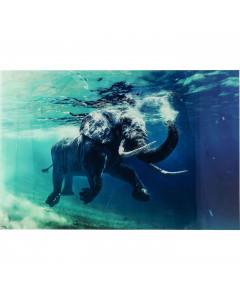Kare Wandfoto Glass Swimming Elephant 180x120cm