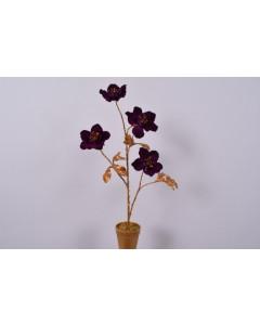 Silk-ka Kunstplant Helleborus in Pot Goud Paars 57cm