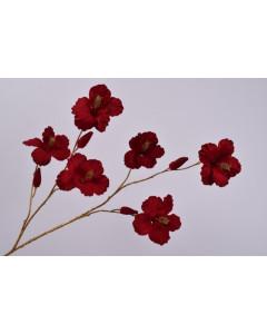 Silk-ka Kunstbloem Hibiscus Tak Goud Rood 115cm