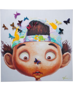 Kare Schilderij Touched Boy with Butterflys 100x100