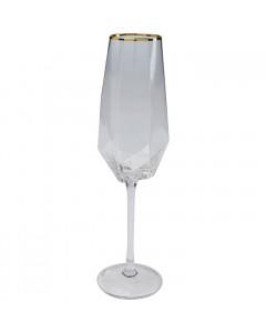 Kare Champagneglas Diamond Gold Rim