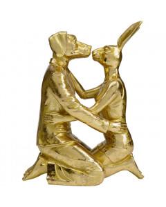Kare Decofiguur Kissing Rabitt and Dog Gold