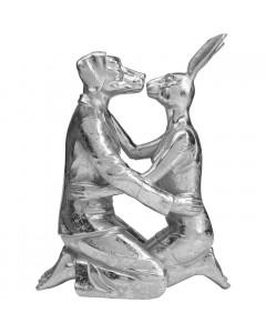 Kare Decofiguur Kissing Rabitt and Dog Silver