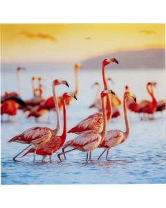 Kare Wandfoto Glass Flamingo Family 80x80cm