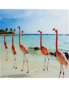 Kare Wandfoto Glass Flamingo Walk