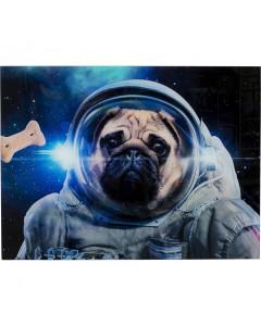 Kare Wandfoto Glass Dog in Space 80x60 cm