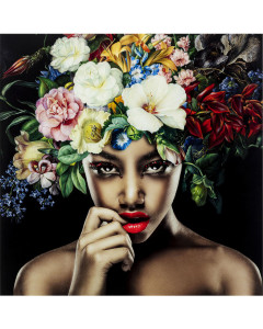 Kare Wandfoto Glass Pretty Flower Woman