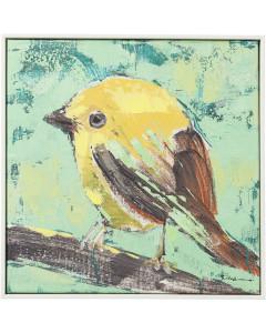 Kare Schilderij Touched Bird Green Black 42x42cm