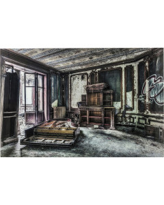 Kare Wandfoto Glass Vintage Piano Room 100x150