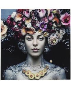 Kare wandfoto Flower Art Lady 120x120cm