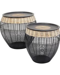 Kare Bijzettafel African Drums set van 2
