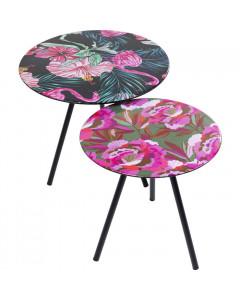 Kare Bijzettafel Flamingo Flower (set van 2)