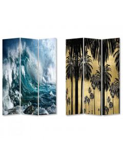 Kare Kamerscherm Triptychon Wave vs Palms