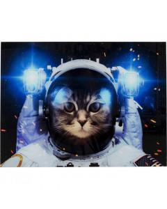 Kare Wandfoto Glass Cat In Space
