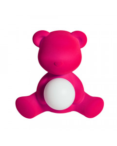 Qeeboo Tafellamp Teddy Girl Velvet LED Fuxia