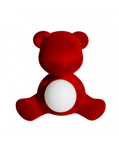 Qeeboo Tafellamp Teddy Girl Velvet LED Red